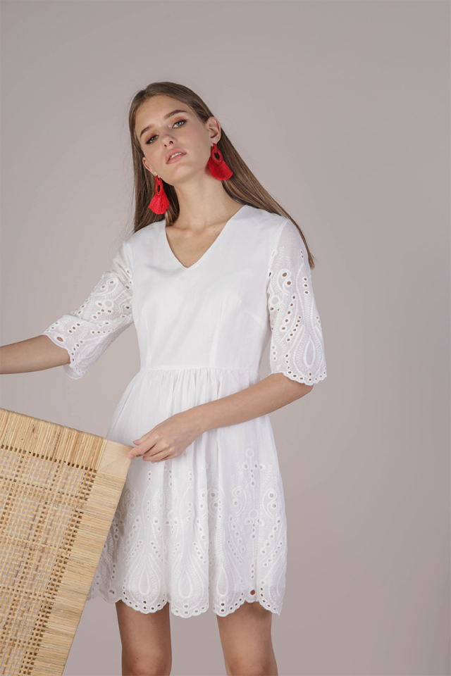 Celia Sleeved Dress (White Eyelet)