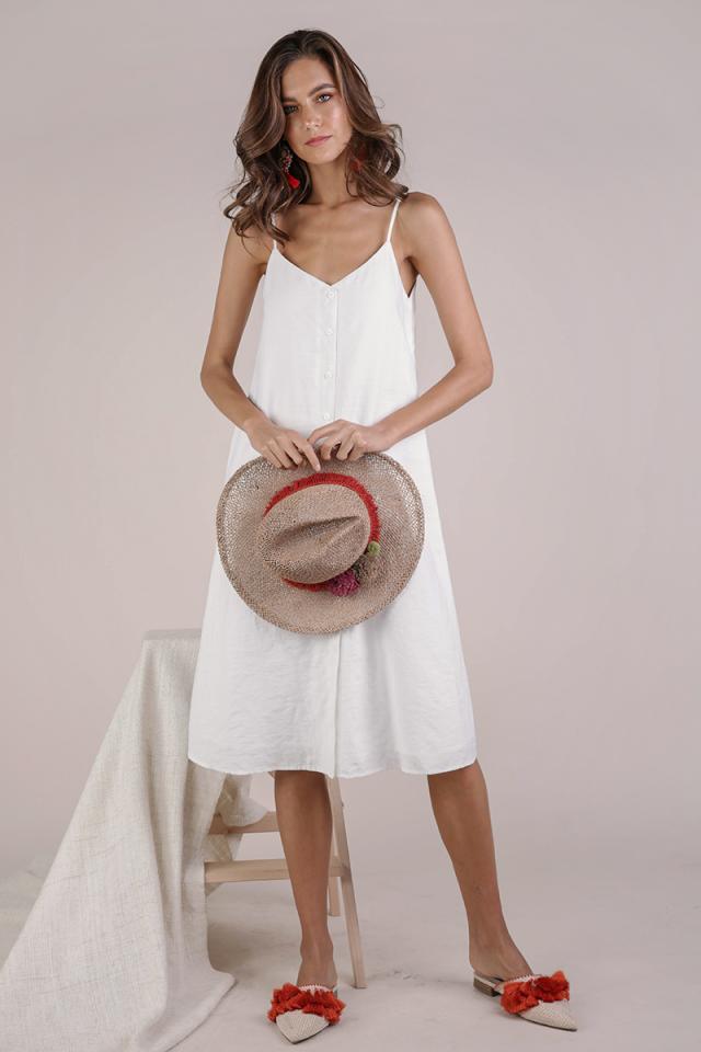 Tris Button Down Midi Dress (White)