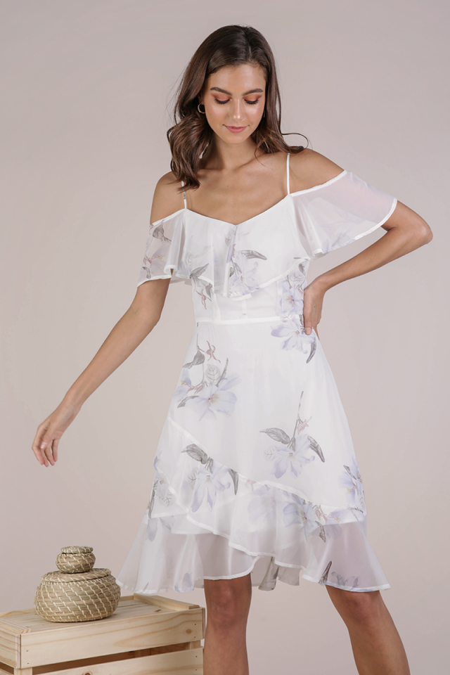 Sarah Off Shoulder Midi Dress (White Florals)