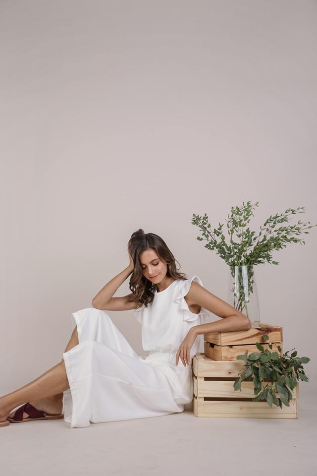 Petra Flutter Jumpsuit (White)