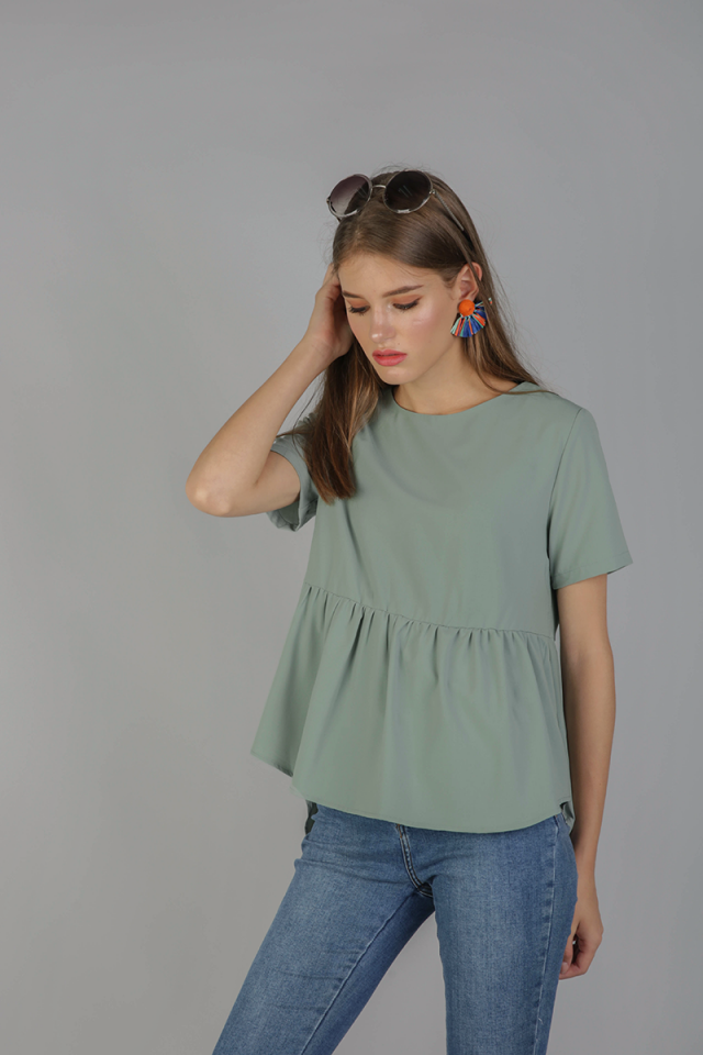 Naomi Babydoll Top (Sage Green)