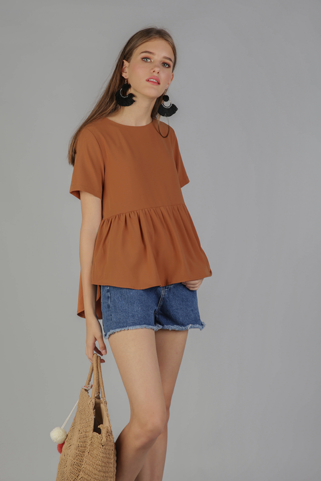 Naomi Babydoll Top (Chestnut)