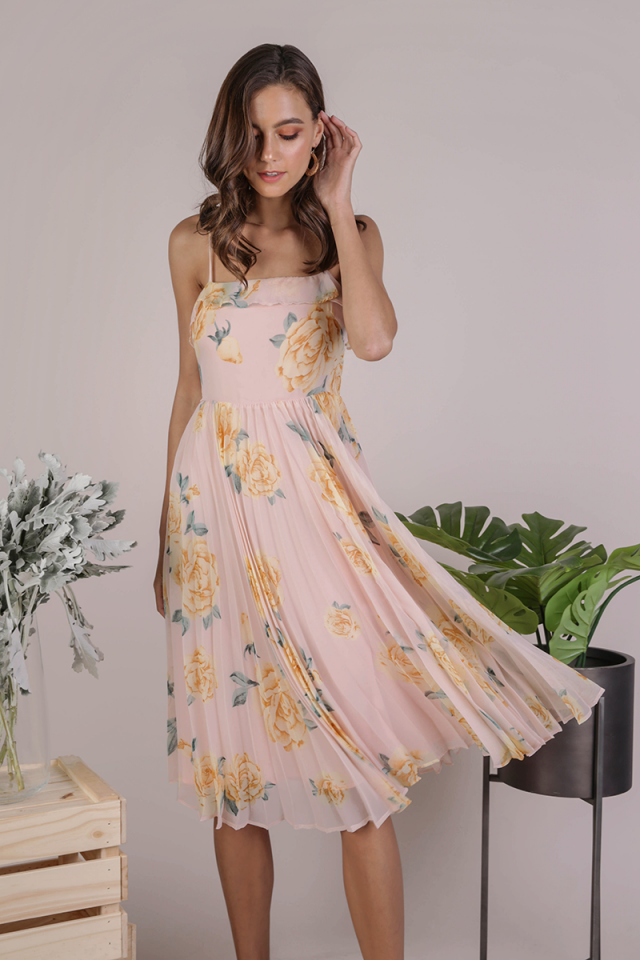 Delilah Pleated Dress (Pink Florals)