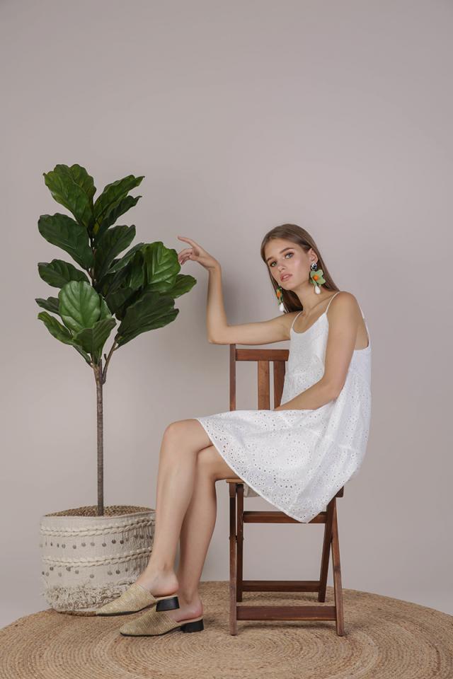 Emmy Tiered Spag Dress (White Eyelet)