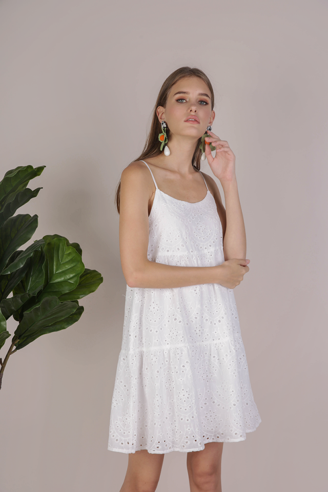 Emmy Tiered Spag Dress (White Eyelet)