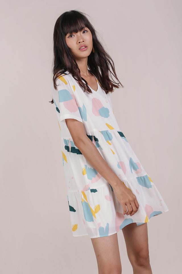 Bella Babydoll Dress (Pastel Abstract)