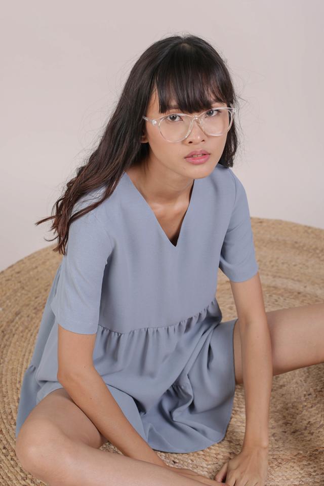 Bella Babydoll Dress (Dusty Blue)