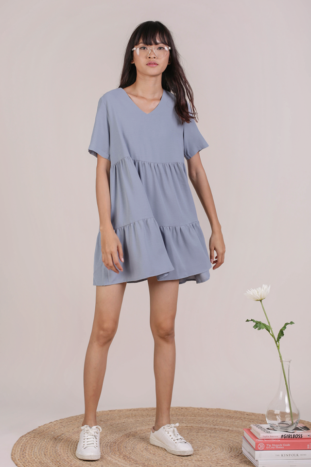 Bella Babydoll Dress (Dusty Blue)