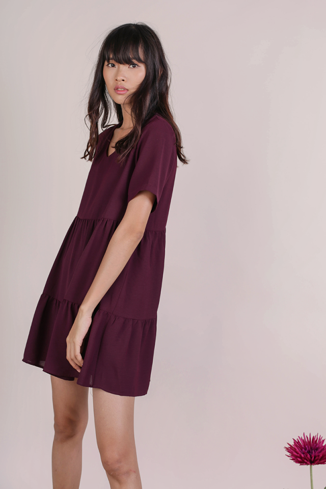 Bella Babydoll Dress (Plum)