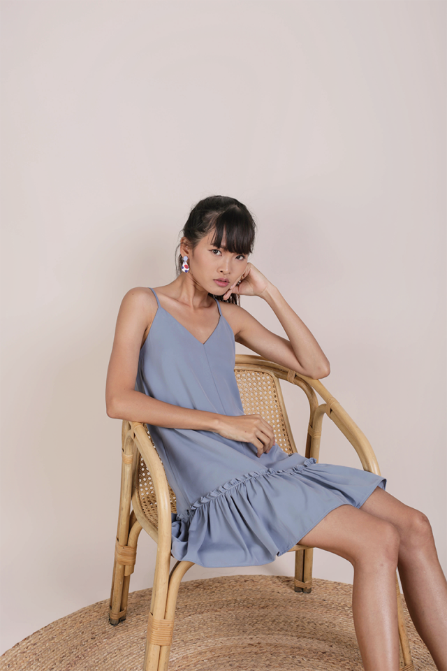 Ella Drop Hem Dress (Dusty Blue)