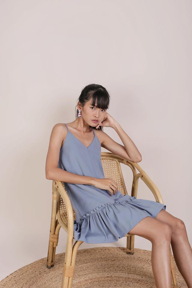 Ella Drop Hem Dress (Dusty Blue)