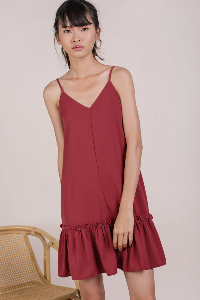 Ella Drop Hem Dress (Muted Crimson)