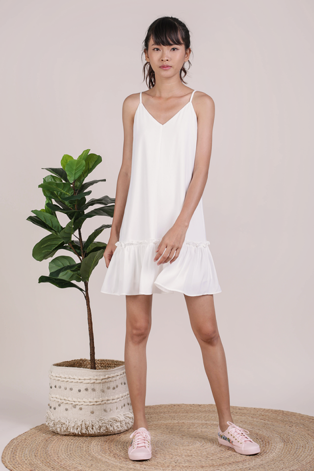 Ella Drop Hem Dress (White)