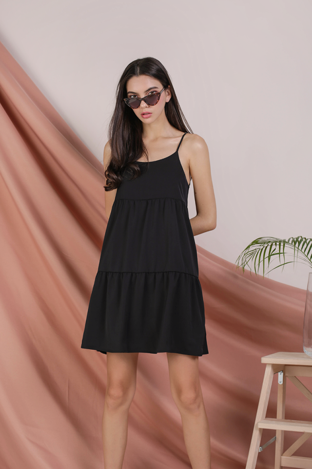 Emmy Tiered Spag Dress (Black)