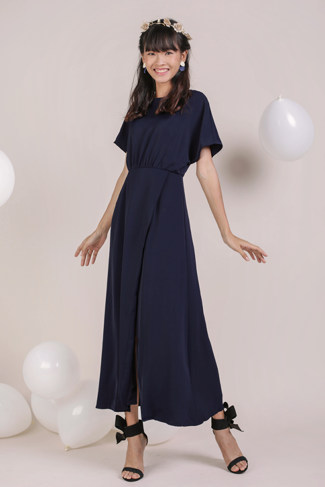Thalia Sleeved Maxi Dress (Navy)