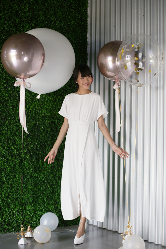 Thalia Sleeved Maxi Dress (White)