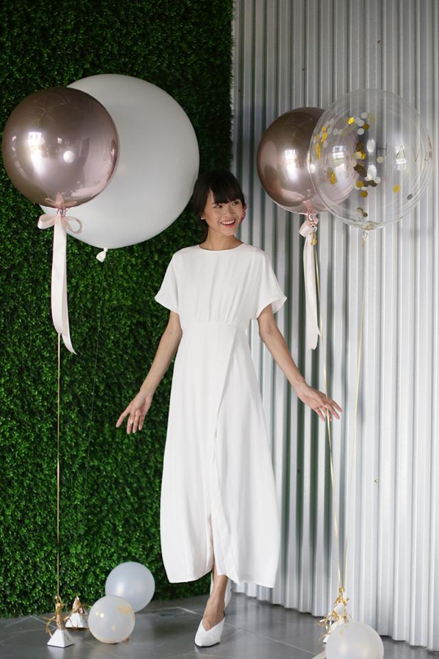 Thalia Sleeved Maxi Dress (White)