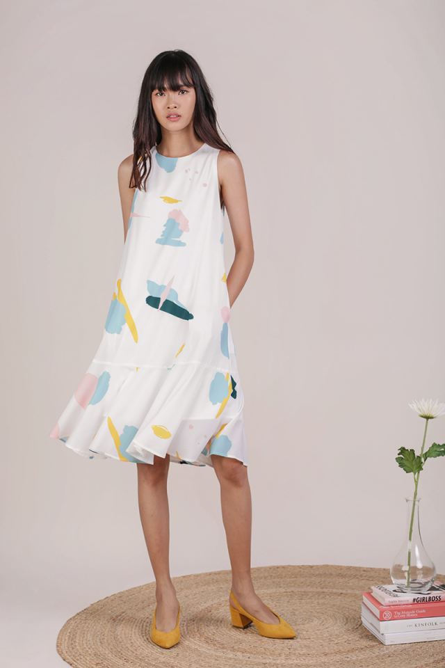Jayne Drop Hem Dress (Pastel Abstract)