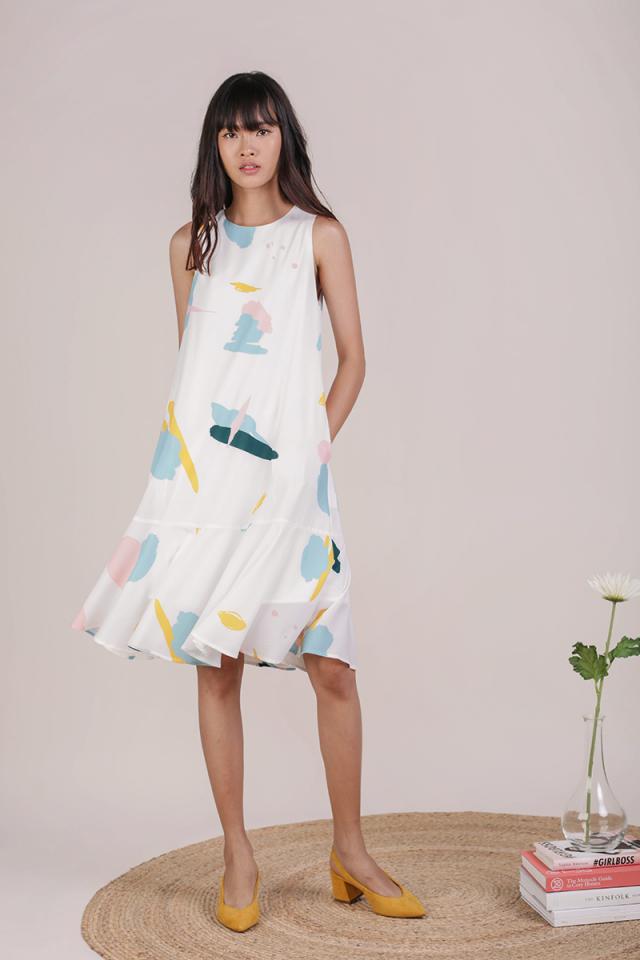 Jayne Drop Hem Dress (Pastel Abstract)