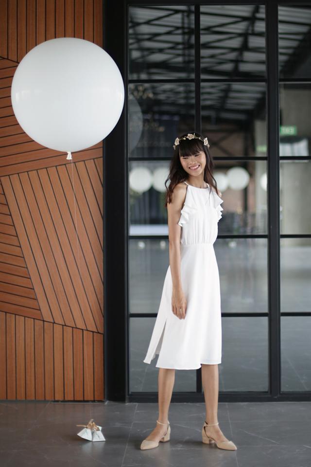 Chloe Ruffles Midi Dress (White)
