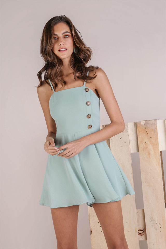 Abby Button Romper (Seafoam)