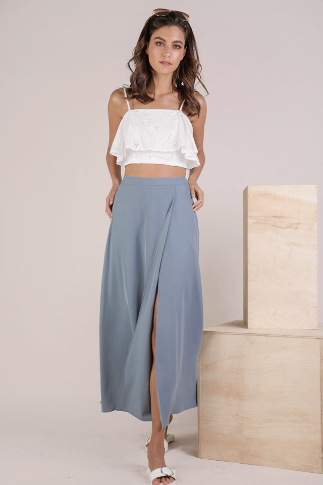 Odelia Slit Maxi Skirt (Dusty Blue)