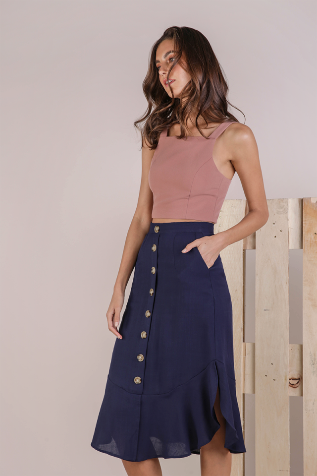 Tiana Button Midi Skirt (Navy)