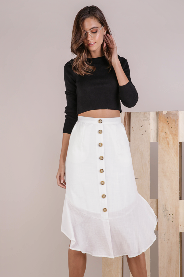 Tiana Button Midi Skirt (White)