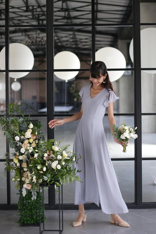 Sasha Ruffles Sleeve Maxi Dress (Dove Grey)