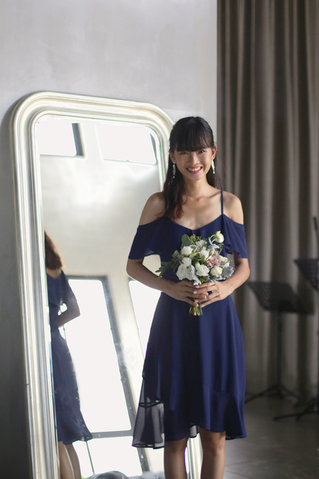 Sarah off Shoulder Midi Dress (Navy)