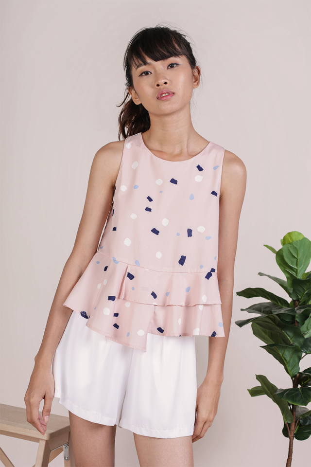 Cece Tiered Top (Blush Confetti)