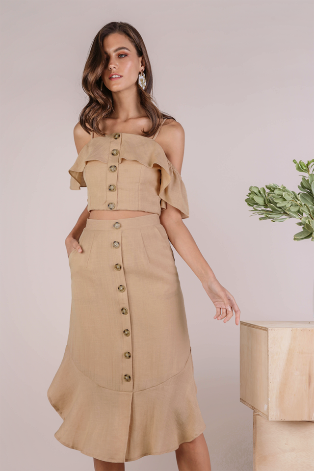 Tiana Button Midi Skirt (Sand)