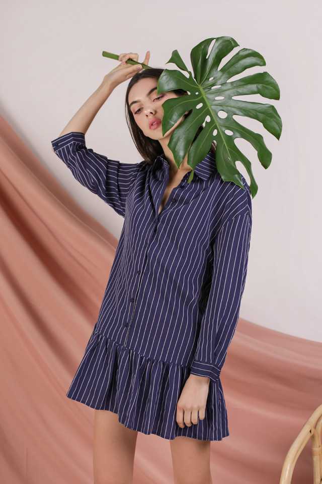 Celine Drop Hem Shirt Dress (Navy Stripes)