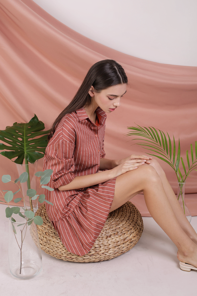 Celine Drop Hem Shirt Dress (Terracotta Stripes)