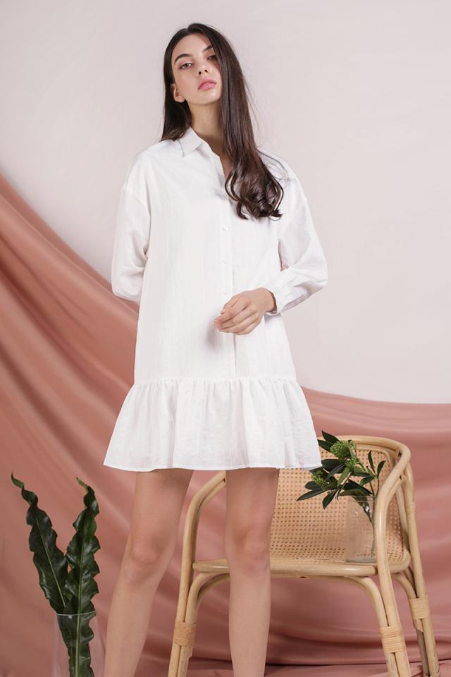 Celine Drop Hem Shirt Dress (White)