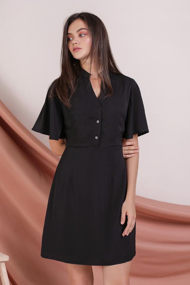 Ellis Flare Sleeve Dress (Black)