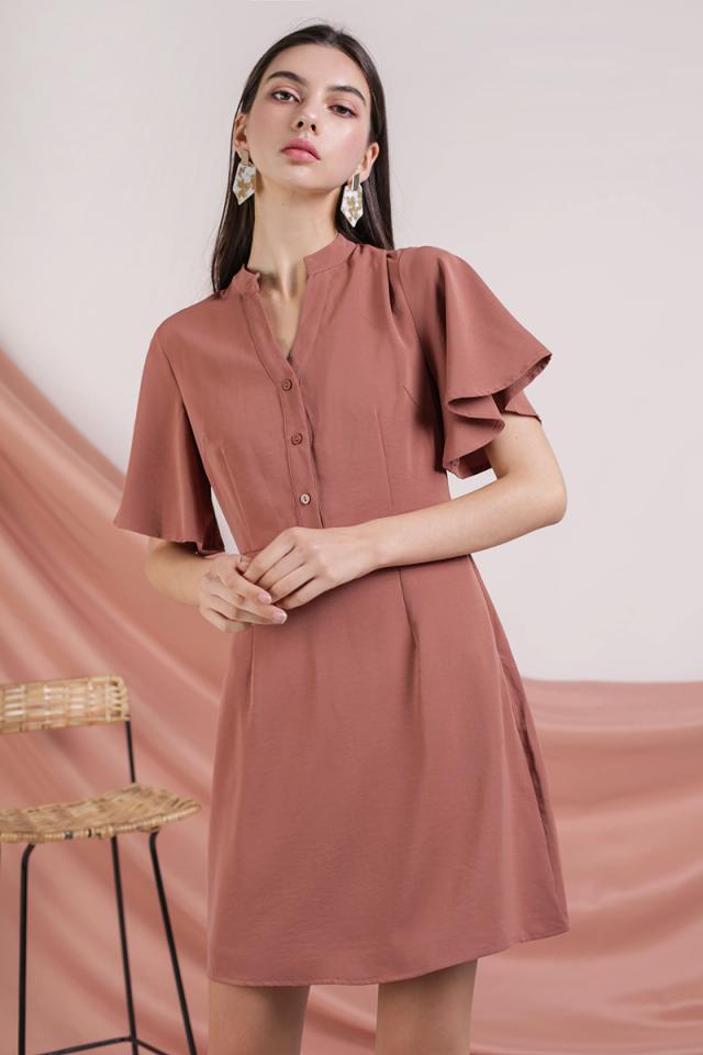Ellis Flare Sleeve Dress (Tea Rose)