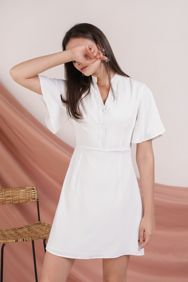Ellis Flare Sleeve Dress (White)