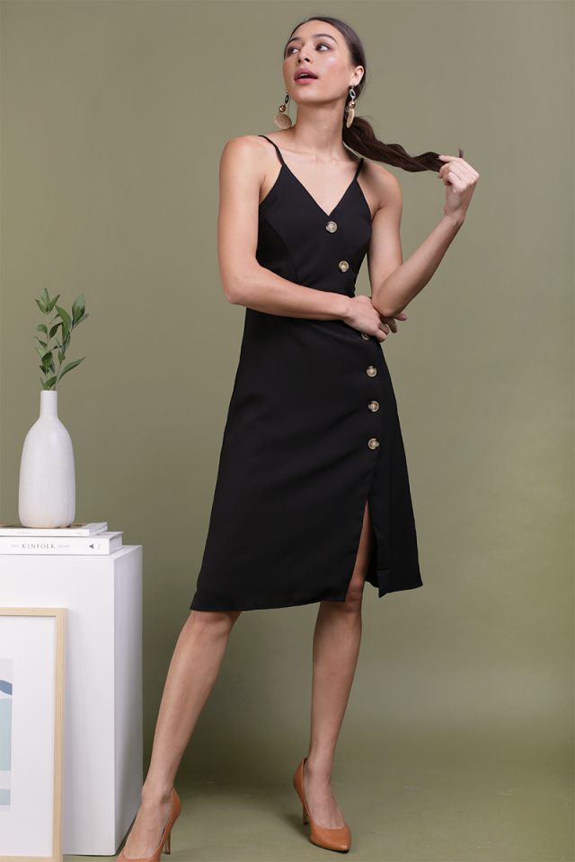 Becca Button Spag Dress (Black)