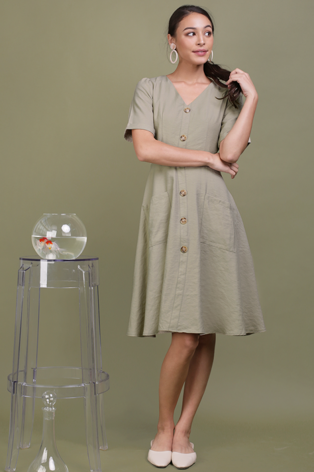 Landon Sleeved Button Midi Dress (Sage Green)
