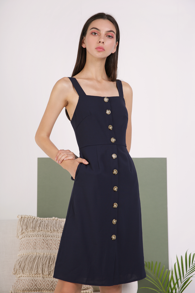 Morgan Button Down Dress (Navy)
