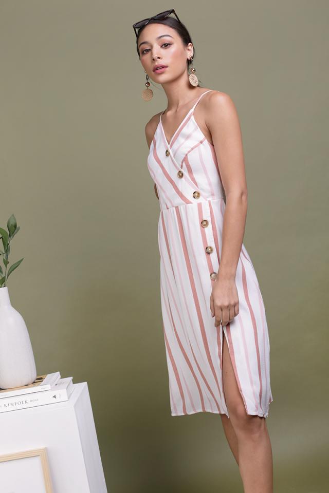 Becca Button Spag Dress (Pink Stripes)