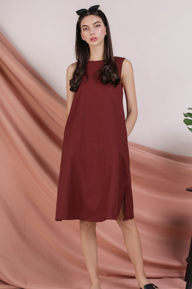 Vera Linen Midi Dress (Rust)