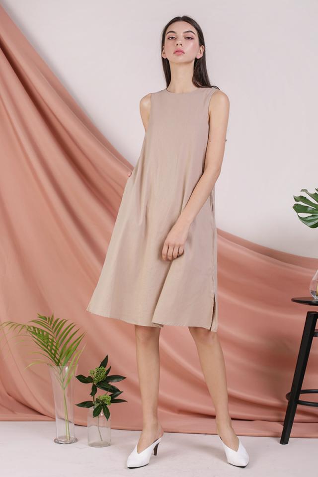 Vera Linen Midi Dress (Nude)