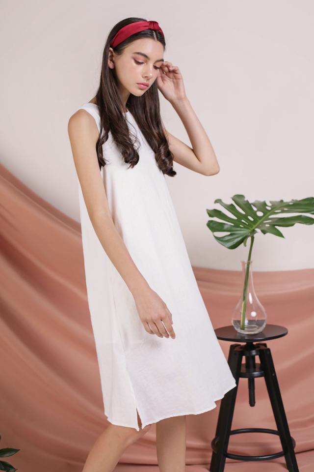 Vera Linen Midi Dress (White)