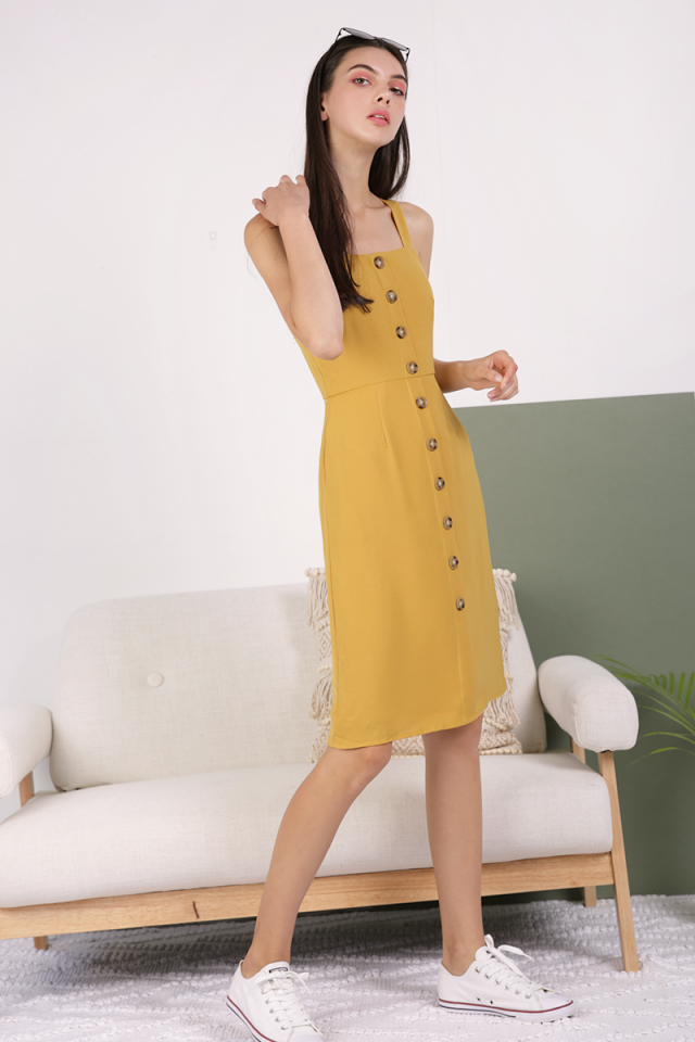 Morgan Button Down Dress (Mustard)