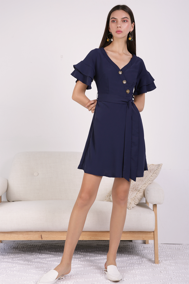 Stacy Flutter Sleeve Dress (Navy)