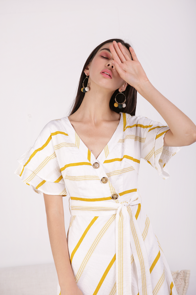 Stacy Flutter Sleeve Dress (Yellow Stripes)