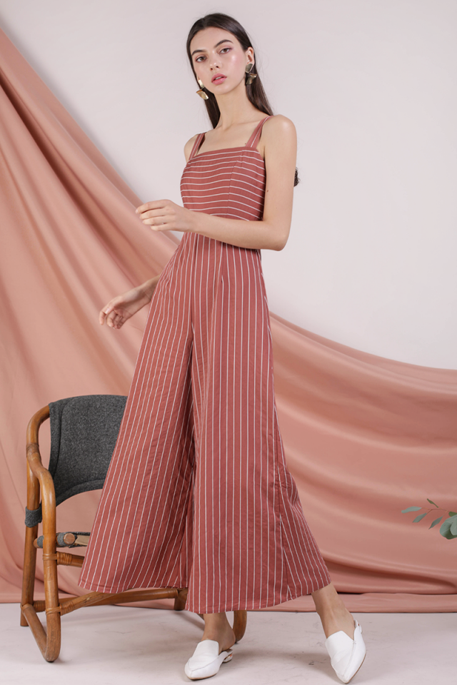 Donna Wide Leg Jumpsuit (Terracotta Stripes)