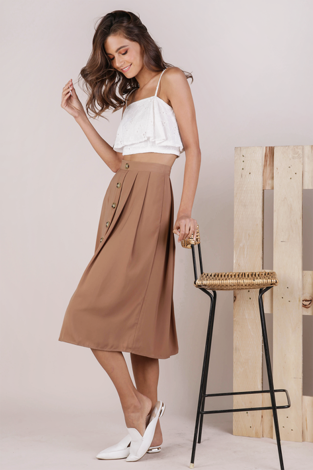 Alexa Button Midi Skirt (Camel)